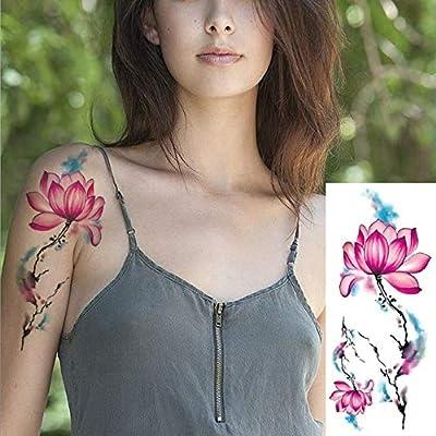 ljmljm 4 Piezas Impermeable Tatuaje Pegatina Oro Rojo Rosa Flor ...