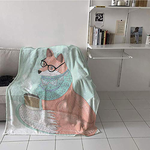 Khaki home Children's Blanket Girl Print Artwork (70 by 90 Inch,Animal Decor,Cute Hipster Fox with Glasses and Scarf Drinking Coffee Hippie Illustration,Coral Mint]()
