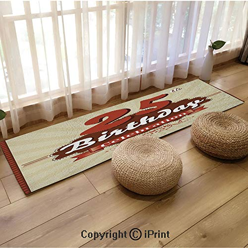 (Extra Long Flannel Floor mat,Aged Design Typography 25th Retro Style Fashionable Eggshell Brown Burgundy,18