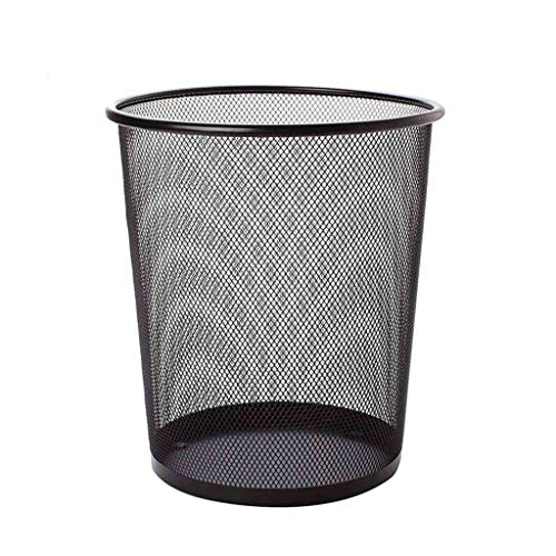 DYFWB Barbed Wire Without Cover Waste Paper Trash Can Metal Hollow Kitchen Bathroom Garbage Bin (Color : Black, Size : L)