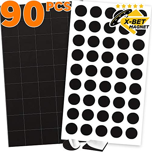 """90 Magnetic Squares and Magnetic Dots (0.8"""" x 0.8"""") with Adhesive Backing - Peel & Stick Magnetic Squares and Circles - Flexible Sticky Magnets - Sheets is Alternative to Magnetic Stickers and Labels"""