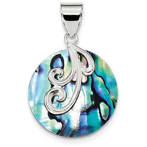 Abalone Sterling Silver Slide Pendant - Finejewelers Sterling Silver Round Abalone Pendant Necklace Chain Included