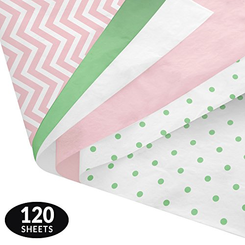 Pastel Baby Gift Wrapping Tissue Paper Set - 120 Sheets - Patterned and Solid Color - Patterned Tissue