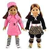 Barwa 2 PCS Outdoor Casual Outfit /Wear Dresses Clothes Fits 18 Inches American Girl Dolls