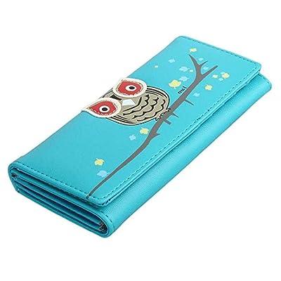 ¡Ofertas! Scpink Cartera, Bolso de dinero para tarjeta de mujer con diseño de búho de cuero de PU largo para mujer (Azul): Belleza