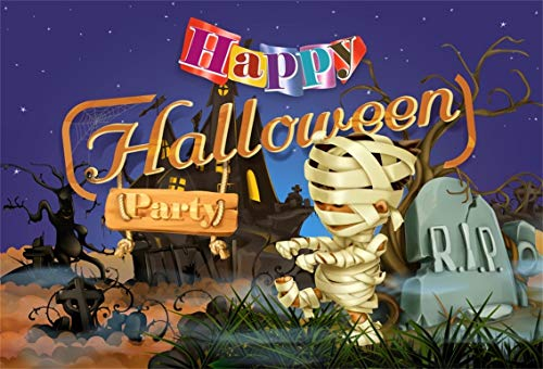 Leyiyi 5x3ft Cartoon Happy Halloween Backdrop Cute Mummy Child Zombie Graveyard Rip Starry Sky Bare Trees Vintage Castle Photography Background Horror Costume Carnival Photo Studio Prop Vinyl Banner ()