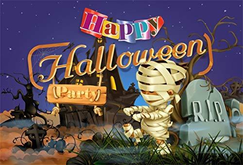 Leyiyi 10x6.5ft Cartoon Happy Halloween Backdrop Cute Mummy Child Zombie Graveyard Rip Starry Sky Bare Trees Vintage Castle Photography Background Costume Carnival Photo Studio Prop Vinyl -