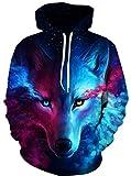 Alaroo Wolf Print Sweatshirt - 3D Digital Big Pockets Drawstring L,Unisex Realistic Hooded Hoodie