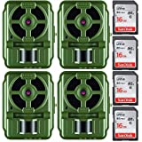 Primos 10MP Proof Cam 01 HD Trail Camera with Low-Glow LEDs, Green - Set of 4 with Memory Cards