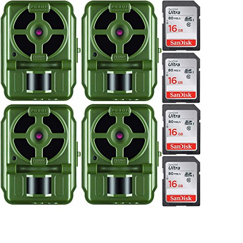 Primos 10MP Proof Cam 01 HD Trail Camera with Low-Glow LEDs, Green - Set of 4 with Memory Cards by Primos Hunting