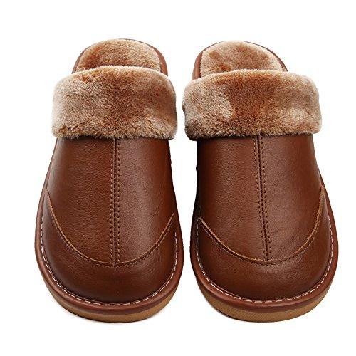 Des couples au chaud Chaussons en cuir Chaussons en coton épais intérieur accueil hiver femelle plancher bois anti-dérapant accueil chaussons pour les hommes et 3,0 (44-45 mètres), brun foncé (mâle)