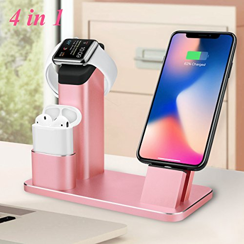 Price comparison product image Apple Watch Stand,Guanchi Aluminum 4 in 1 Apple Watch iPhone AirPods Charging Stand Dock station for Apple Watch 3/2/1/ AirPods iPhone X/8/8Plus/7 Plus /6S /6S Plus/ iPad- Rose Gold