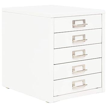 vidaXL Cajonera Archivador Metal Blanco 5 Cajones Mueble Organizador Oficina: Amazon.es: Hogar