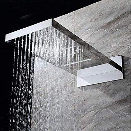 UYKIKUI Contemporary Wall Mounted Rain Shower Waterfall Handshower Included Thermostatic Ceramic Valve Four Handles Three Holes Chrome, Shower