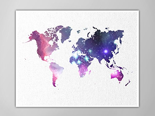 Amazon world map poster galaxy universe world map art print world map poster galaxy universe world map art print faux canvas textured home gumiabroncs Gallery