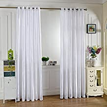 Robolife 39 x 98 inch Grommet Ring Top French Window Curtain for Home Bedroom (White)