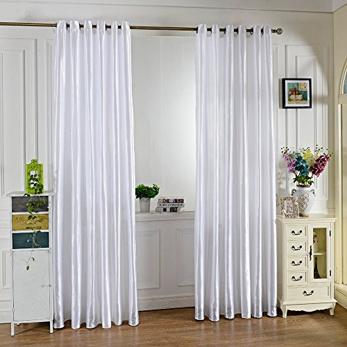 Robolife 39 x 98 inch Grommet Ring Top Insulated French Window Curtain for Home Bedroom (White) (Outdoor Pottery Curtains Barn)
