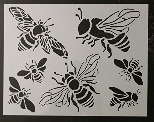 TNS STORE Honey Bee Bumble Bees 11'' x 8.5'' Custom Stencil by TN