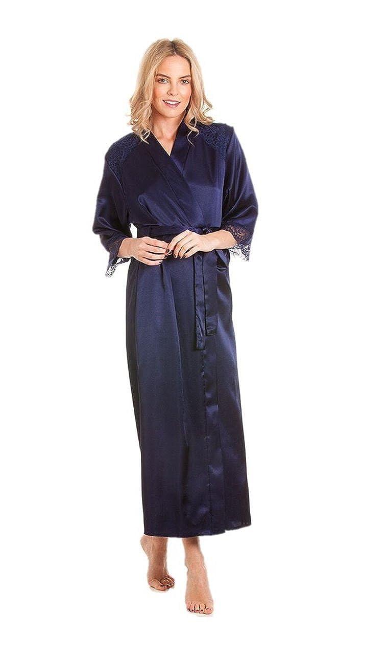 da82407e95 Ladies Satin Robe wrap Dressing Gown Kimono Housecoat Cover up Plus Size   Amazon.co.uk  Clothing