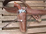 Shotgun Lilli Western Gunbelt with Tooled Holster Combo - 22 Caliber - Leather - Brown (44', Right)