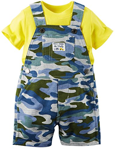 Carter's Two-Piece Boy's Blue Camo Coverall and Top Set (9M) - Le Top Boys Coverall