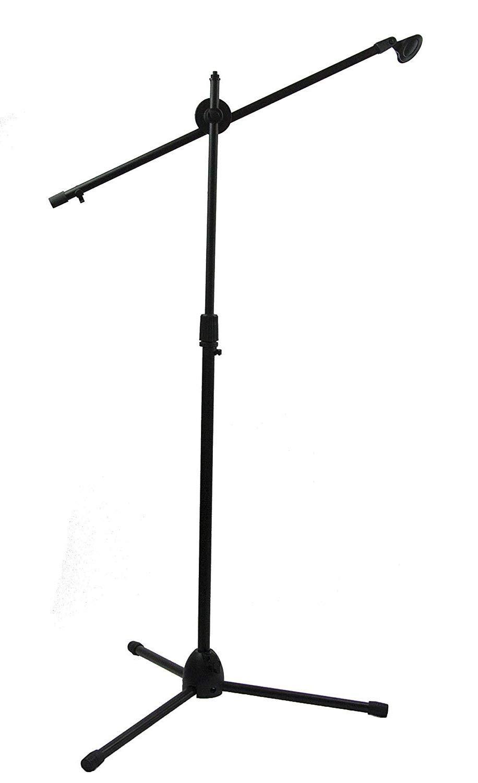 BUYMORE Pied Perche de Microphone Telescopique Support de Micro avec 1 Pince Trépied Pliant Noir