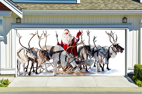 Christmas Garage Door Cover Banners 3d Santa Holiday Outside Decorations Outdoor Decor for Garage Door G26 by Best_WallDecals_For_You