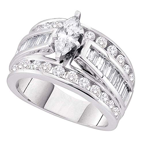 (Jewel Tie - Size 5 - Solid 14k White Gold Marquise Diamond Solitaire Bridal Engagement Ring Wedding Band Set 1.00 Cttw.)