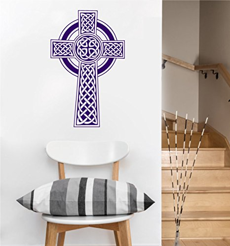 Celtic Cross Decal | Wall Sticker (Violet, 22.5