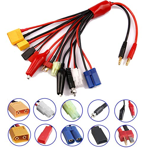 - ShareGoo 10 in 1 4mm Banana Plug RC Lipo Battery Multi Charger Adapter Lead Cable Converter XT60/XT90/Deans T/EC5/JST/Tamiya Plug/JR/Ignition Plug/Alligator clips for RC Car Helicopter Quadcopter