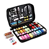 #5: SEWING KIT,JKtown Over 100 Portable Basic Sewing Accessories, 24 Color Spools of Thread, Mini sew kits supplies for Beginners,Traveller,Emergency,Family starter to Mending and Repair (Black)
