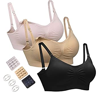 HOFISH 3PACK Full Bust Seamless Nursing Maternity Bras Bralette S-XL With Extra Bra Extenders & Clips
