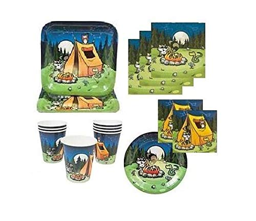 FAKKOS Design Camping Theme Party Supplies Plates Napkins Paper Cups Serves 16 (Camp Themed Paper Plates)