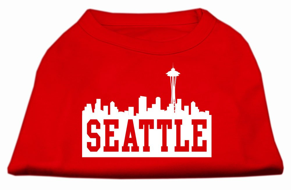 Mirage Pet Products 16-Inch Seattle Skyline Screen Print Shirt for Pets, X-Large, Red