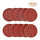 SPTA 100pcs 5 inch 8-Hole Sanding Discs Pad Kit for Drill Grinder Rotary Tools, Circular Dustless Hook and Loop Sander Sandpaper with Mix grit 40#,80#,120#,180#,320#,400#,600#,800#,1500#,2000#