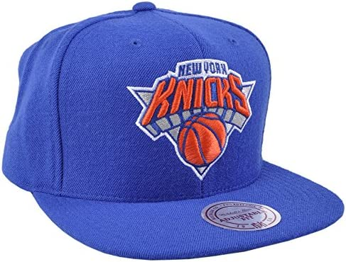 2f989343c36 Mitchell   Ness New York Knicks NBA Team Logo Solid Wool Adjustable Snapback  Hat (Blue