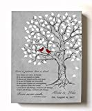 MuralMax - Personalized Family Tree & Lovebirds, Stretched Canvas Wall Art, Make Your Wedding & Anniversary Gifts Memorable, Unique Decor, Color Gray # 2 - 30-DAY - Size - 24x30