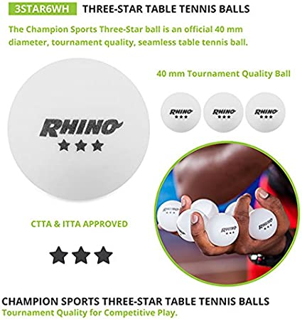 Champion Sports Tournament 3 Star Table Tennis Balls Multiple Colors