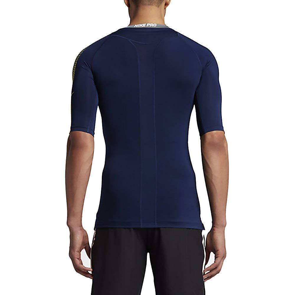 1c07902b6 NIKE Pro Men`s Half Sleeve Dri Fit Compression Football Shirt (Binary Blue  (833544-429)/Electrolime/White, Small) at Amazon Men's Clothing store:  Fashion ...