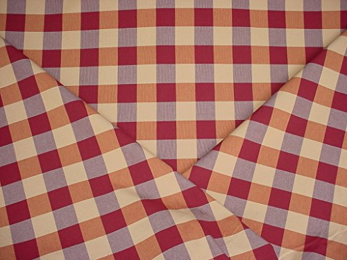 78W5 - Rose / Canyon Red / Sand Woven Cotton Picnic Check / Plaid Designer Upholstery Drapery Fabric - By the Yard