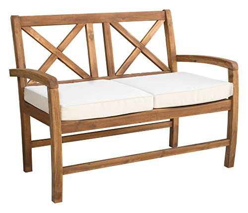 WE Furniture AZWXBLSBR X-Back Love Seat with Cushions Outdoo