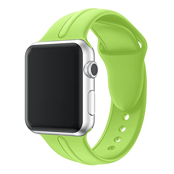 Durable Soft Silicone Sport Strap Replacement Wristband Bracelet for Apple Watch Series 4 Series 3 Series 2 Series 1 Sport and Edition (Green 42/44mm ...