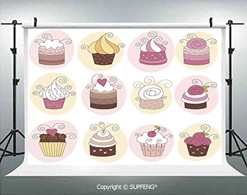 Photography Background Cupcakes Bakery Pastry Design Confectioners Decorations Cake Retro Style Decor Decorative 3D Backdrops for Photography Backdrop Photo Background Studio Prop