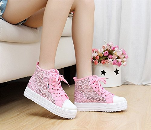 Toe Sneaker Pink Lace Wedge Top Student Shoe Colorful Round Womens Gaorui High Casual Platform Hollow fqB7I1