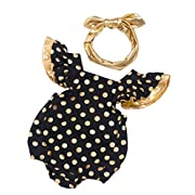 D.B.PRINCE Newborn Baby Girl Clothes Gold Dots Bodysuit Ruffles Romper Jumpsuit One-Pieces Outfits Set with Headband (Black, 3-6 Months)