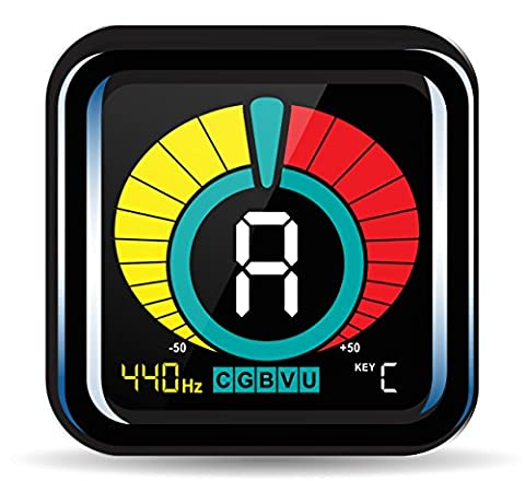 KLIQ UberTuner - Clip-On Tuner for All Instruments - with Guitar, Bass, Violin, Ukulele & Chromatic Tuning (Guitar / Bass)