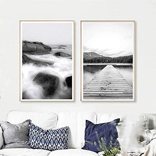 JTM Nordique Affiche Noir Et Blanc Imprime Pont Paysage Affiches Et Gravures Toile Mur Art de Toile Impressions sur Toile de Peinture sans Cadre cm A4 21X30