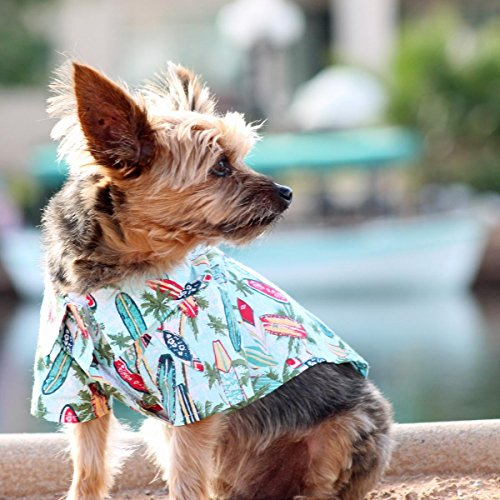 Surfer Dog Costume (Doggie Design Hawaiian Camp Shirt (Surfboards and Palms, S))