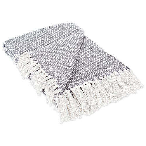 DII 100% Cotton Basket Weave Throw for Indoor/Outdoor Use Camping Bbqs Beaches Everyday Blanket, 50 x 60, Gray
