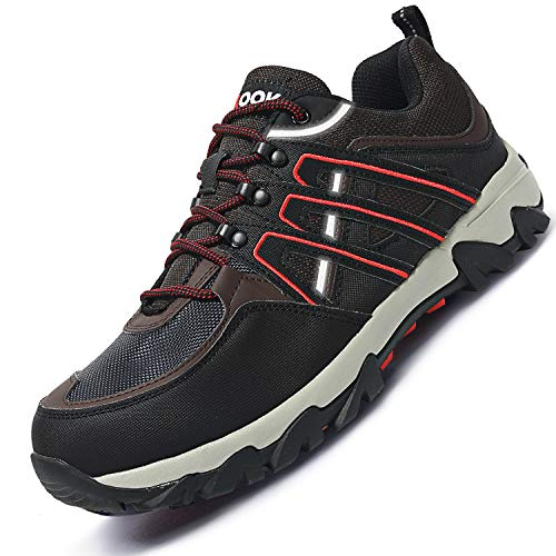 (Fires Mens Leather Hiking Shoes Steel Toe Slip Resistant Work Shoes Black12 M US)